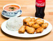 Gebackenes Huhn mit Thai-Sauce, scharf
