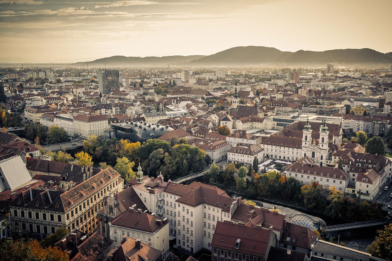 Ein Blick über die Stadt Graz.