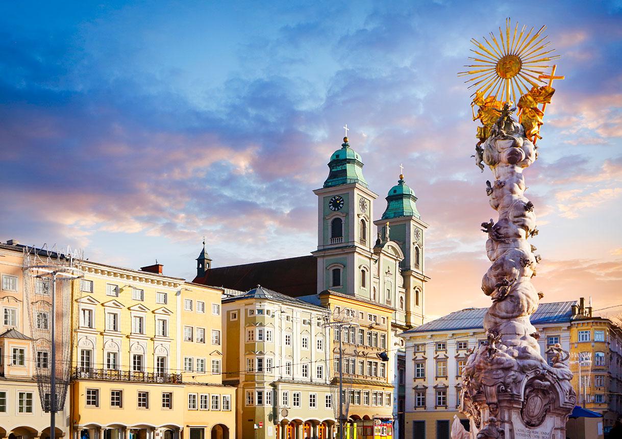 Ein Blick über die Stadt Linz.