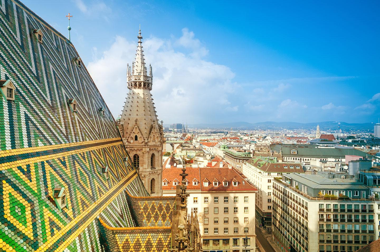Ein Blick über die Stadt Wien.