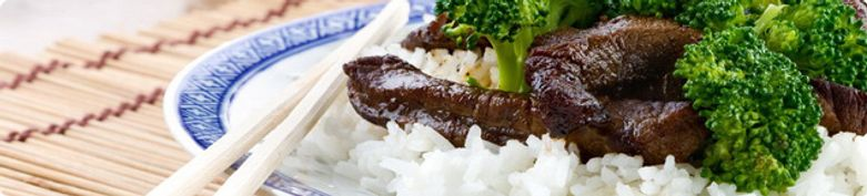 Rindfleischgerichte mit Reis  - Asia Imbiss Rosi