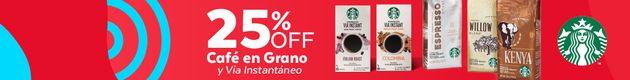 25% OFF Café en Grano y VIA® Instantáneo