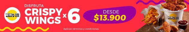 Tus Crispy Wings + Papas + Verduras por $13.900