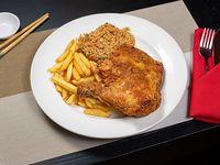 Combo 1 - Arroz + pollo frito + papas fritas