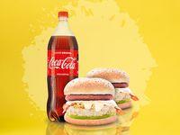 Súper Combo 2 Hamburguesas Especiales + Coca-Cola Sabor Original 1.5 lt.