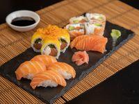 Combinado premium de salmón nikkei (14 piezas a elección del chef)