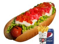 Hot Dog 19 cm + papas fritas medianas + bebida en lata
