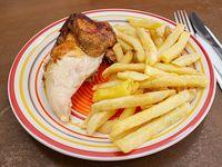 Promo colación- 1/4 pollo (pechuga) + papas fritas chicas
