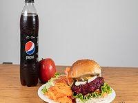 Hamburguesa veggie y de carne al pan con ensalada y bebida 500 ml