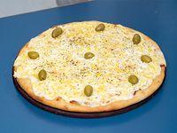Pizza con panceta y huevo