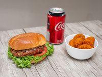 Combo 3 - Hamburguesa vegana + ración 6 nuggets soya + lata bebida 350 ml