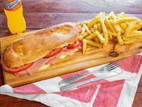 Combo - 2 x1 Tostado de jamón y queso y tomate + papas fritas + bebida