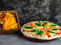 Promo. Una pizzeta con dos gustos a elección + porción de papas cheddar
