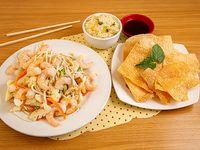 Chapsui de camaroncon arroz chaufán + wantan frito (10 unidades)