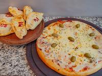 Pizza grande con muzza + 6 empandas