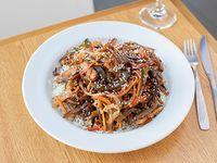 Vegetales al wok con arroz