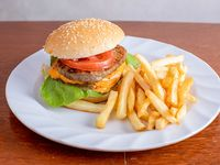 Double Burger con fritas