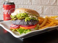 Combo - Honest green burger + Papas fritas + Bebida en lata 330 ml + helado artesanal 12onz