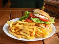 Promo 9 - Hamburguesa doble + papas fritas