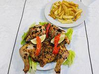 Promo - Pollo entero a las brasas con papas fritas y ensalada + gaseosa 1.5 L