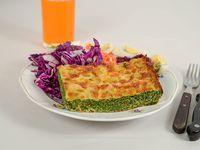 Souffle de espinaca con mozzarella y ensalada mixta