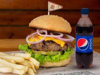 Cheese Burger + Papas + Gaseosa Postobón 250 ml