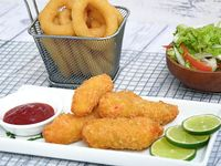 Fish & chips langostinos