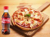 Pizza Hawaiana y 3 Quesos Especial Personal + Coca-Cola Sabor Original 30% Off.
