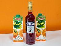 Combo - Campari 750 ml + 2 jugos Baggio de naranja de 1 L