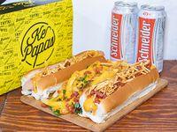 Promo - Caja mega + 2 panchos + 2 cervezas  Schneider en lata 374 ml