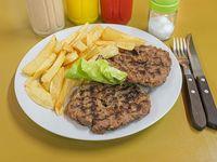 2 hamburguesas caseras grilladas con guarnición