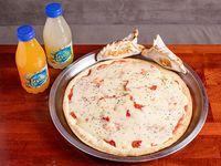 Pizza grande de muzzarella con 2 empanadas y 2 bebidas pequeñas