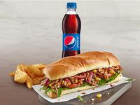Sándwich Cerdo BBQ Domicilios + Acompañamiento + Gaseosa Pet 400 ml