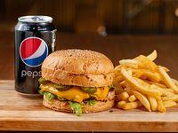 Promo 1 - Combo Morris burger con papas fritas + cerveza de 473 ml o refresco mediano