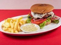 Sándwich de hamburguesa la mano de Dios