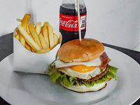 Hamburguesa completa más papa fritas más gaseosa de 250 cc