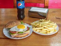 Promo - Hamburguesa súper completa + gaseosa 500 ml