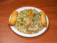 Menú mediodía 3 - Chop suey de verdura + 2 arrolladitos primavera + gaseosa línea Coca Cola de 220 ml