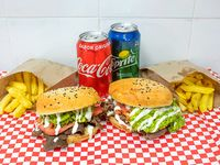 2 sándwiches italianos + papas fritas + 2 bebidas 350 ml