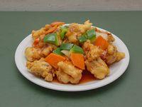 107 - Buñuelos de cerdo frito con salsa agridulce