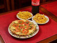 Promo - Súper milanesa 30 cm + papas fritas + cerveza Pilsen 1 L o gaseosa 1.5 L