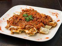 Menú - Ravioles con bolognesa + postre