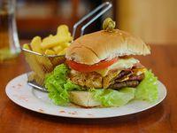 Promo - Hamburguesa doble carne + papas fritas
