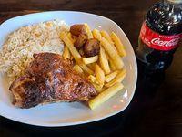 Combo 2- Octavo de pollo brasa+ 2 guarniciones+ Cocacola 300 ml