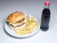Combo 7 - Hamburguesa Pomodora enorme + papas fritas + gaseosa 237 ml