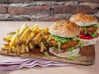 Combo - 2 Crispy burgers + Papas fritas