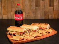 Promo - 3 lomos completos + papas fritas + Coca-Cola 1.5 L o cervezas Andes