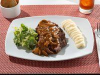 Churrasco de Ribeye 330gr + Salsa Champiñones + papas bravas + ensalada caesar
