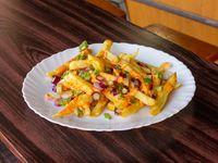Porción de papas fritas con cheddar y verdeo