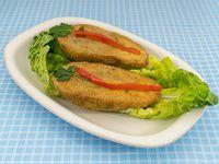 Menú vegetariano - Milanesas de berenjenas rellenas (con queso) con guarnición + postre